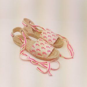 GAP 9 Palm Tree Strappy Espadrilles Natural Pink